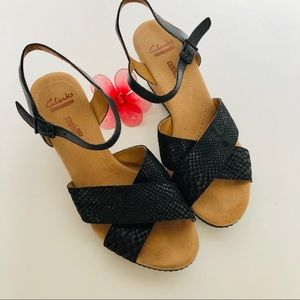 CLARKS Collection Soft Cushion wedge sandals.